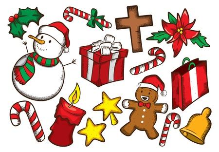Conjunto De Dibujos Animados Con Santa, Muñeco De Nieve, Vela ...