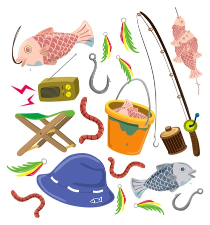 cartoon fishing: set of colorful fishing stuff Illustration