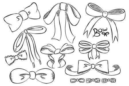 ribbons hang: set of bow doodle Illustration