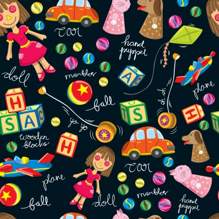 cute vintage toys background, suitable for wrapping paper Stock Vector - 15283677