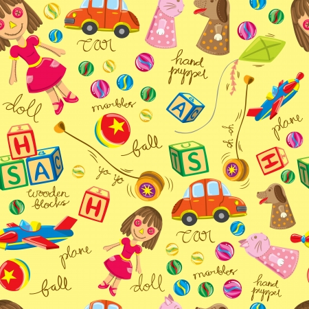 stuff toys: cute vintage toys background, suitable for wrapping paper Illustration