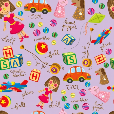 cute vintage toys background, suitable for wrapping paper Vector
