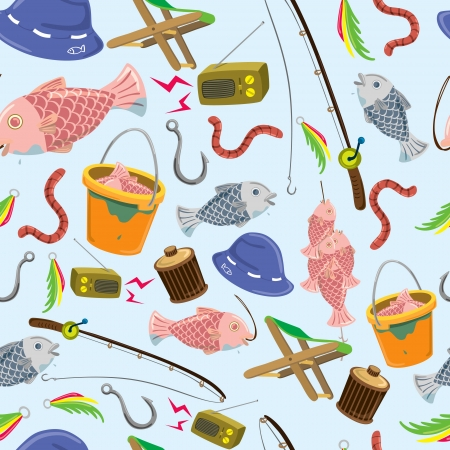 cartoon fishing: fishing stuff background Illustration