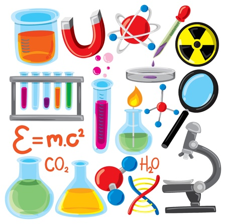 scientific experiment: set of science stuff icon Illustration