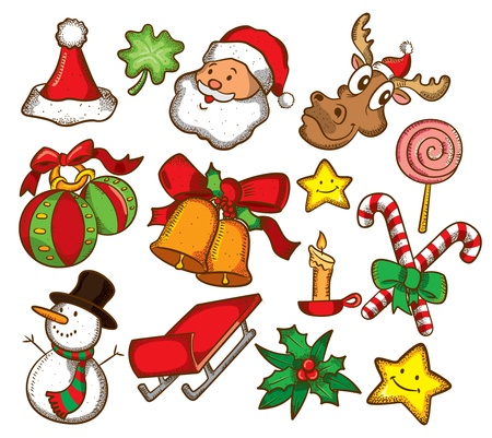 set of christmas icon in doodl stye Vector