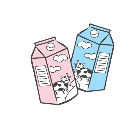 pasteurized: box of milk Illustration