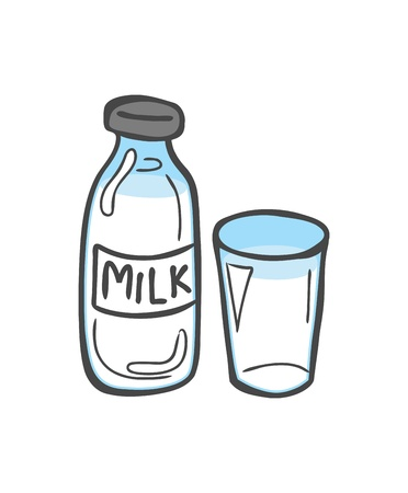 glass of milk: bottle of milk and a glass