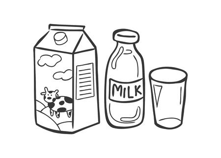 carton de leche: leche en estilo garabato Vectores