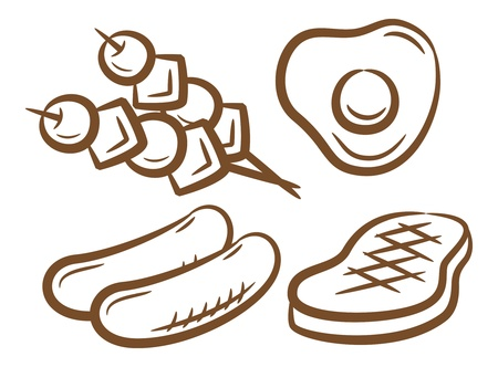 meat skewers: set of barbecue food icon
