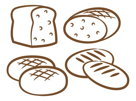 thresh grain: set of bread icon