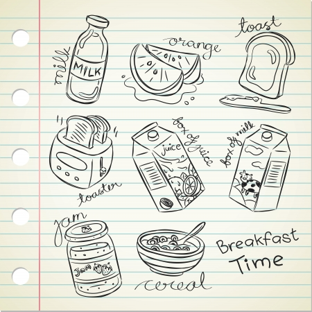 comida del desayuno diversas en estilo garabato