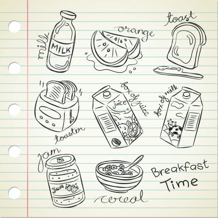 various breakfast food in doodle style