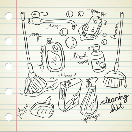 detergents: cleaning kit in doodle style