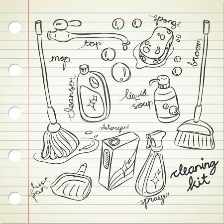 barren: Kit de limpieza en estilo garabato Vectores