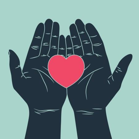 mani cartoon: mano dando simbolo di amore Vettoriali