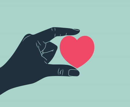 happiness concept: hand giving love symbol
