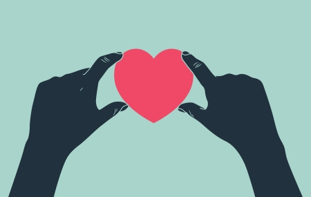 health care funding: hand giving love symbol