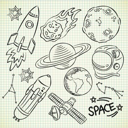 luna caricatura: espacio garabato conjunto