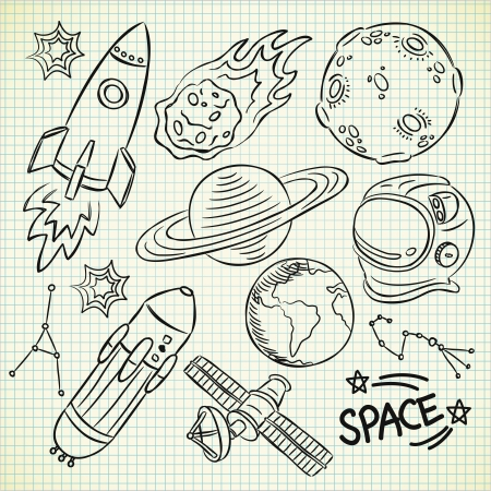 astronaut in space: space doodle set Illustration