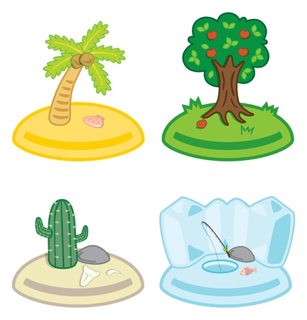 set of cute island icon Vector