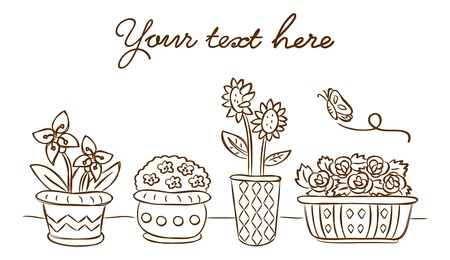 plant pot: set of flower and butterly in doodle style