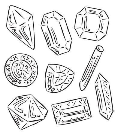 diamond clip art: set of emstone in various shape