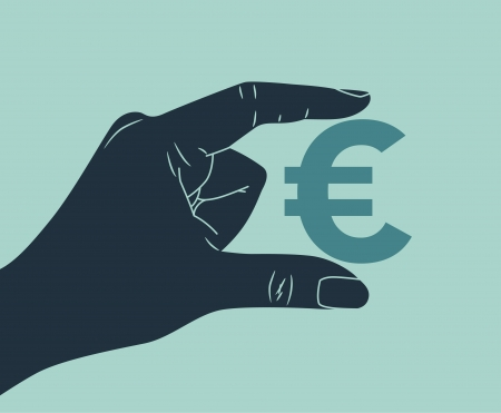 giving money: hand with euro symbol