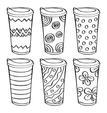 set of sketchy tumbler Stock Vector - 15534275