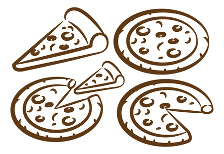 set of pizza doodle Vector