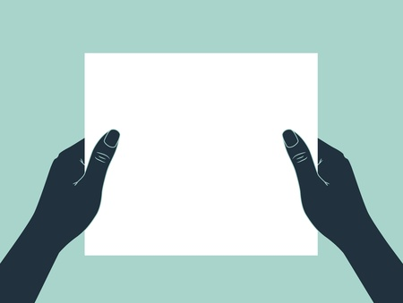 broadsheet: hand holding blank paper Illustration