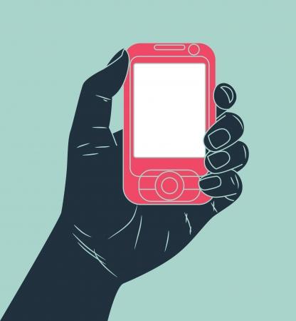 smartphone mano: mano in possesso di telefono cellulare Vettoriali