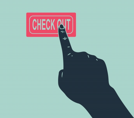check out: hand push check out button Illustration