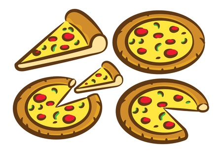 delicious pizza set Vector