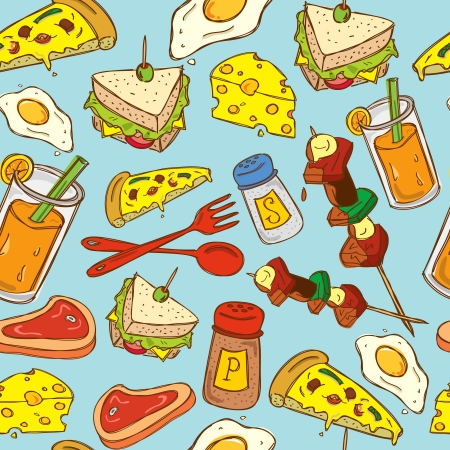 ham sandwich: vintage food pattern Illustration