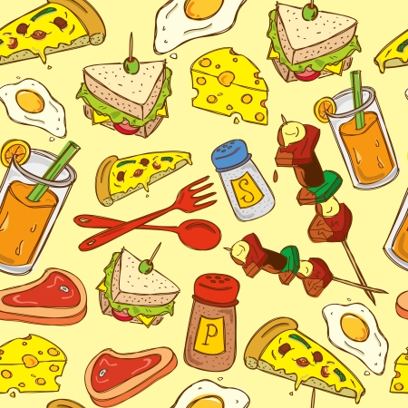 vintage food pattern Illustration