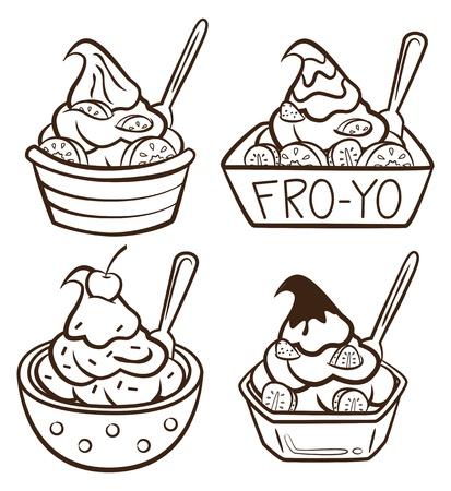 helado caricatura: yogur congelado