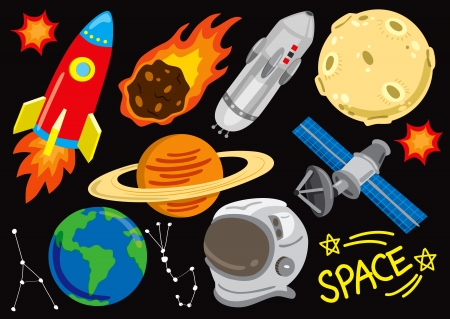 meteor: Raum doodle set Illustration