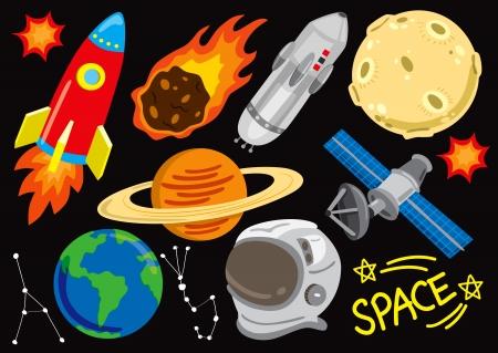 ruimte doodle set Stock Illustratie