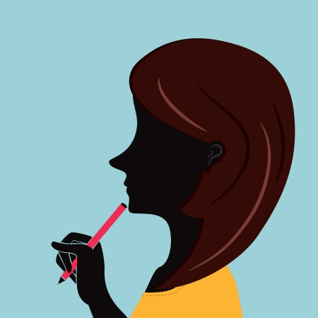 office woman with trendy hair holding pen Vector