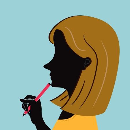 oficina de la mujer con la pluma de moda holding pelo