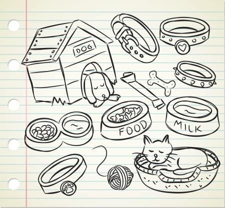 spul: huisdier stuff doodle Stock Illustratie