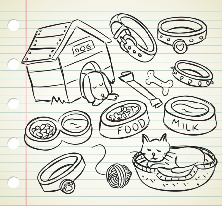 pet care: pet stuff doodle  Illustration