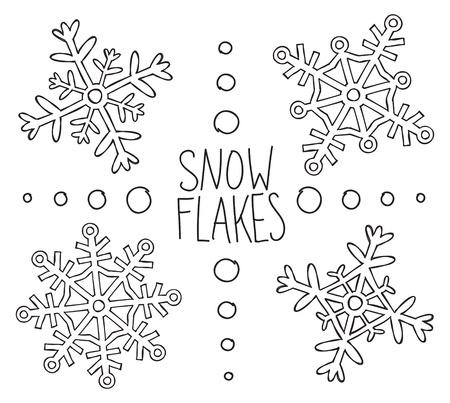 snow flake: set of snowflake doodle
