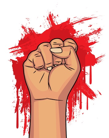 boycott: clenched fist with bloody background Illustration