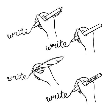napsat: doodle rukopis Ilustrace