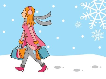 clip art women: shopping girl