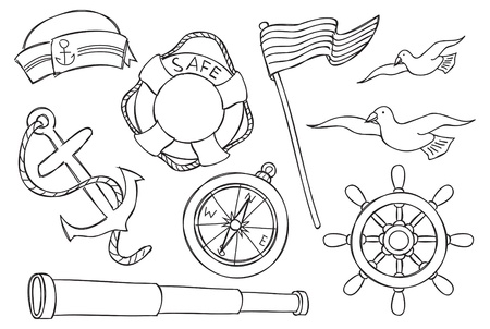 compas de dibujo: objeto náutico Vectores