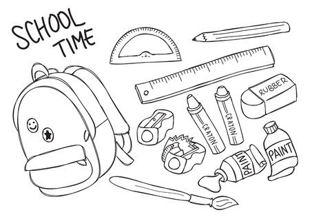 school stuff doodle Vector