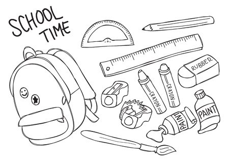 school stuff doodle Illustration