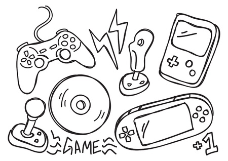 game console doodle Illustration